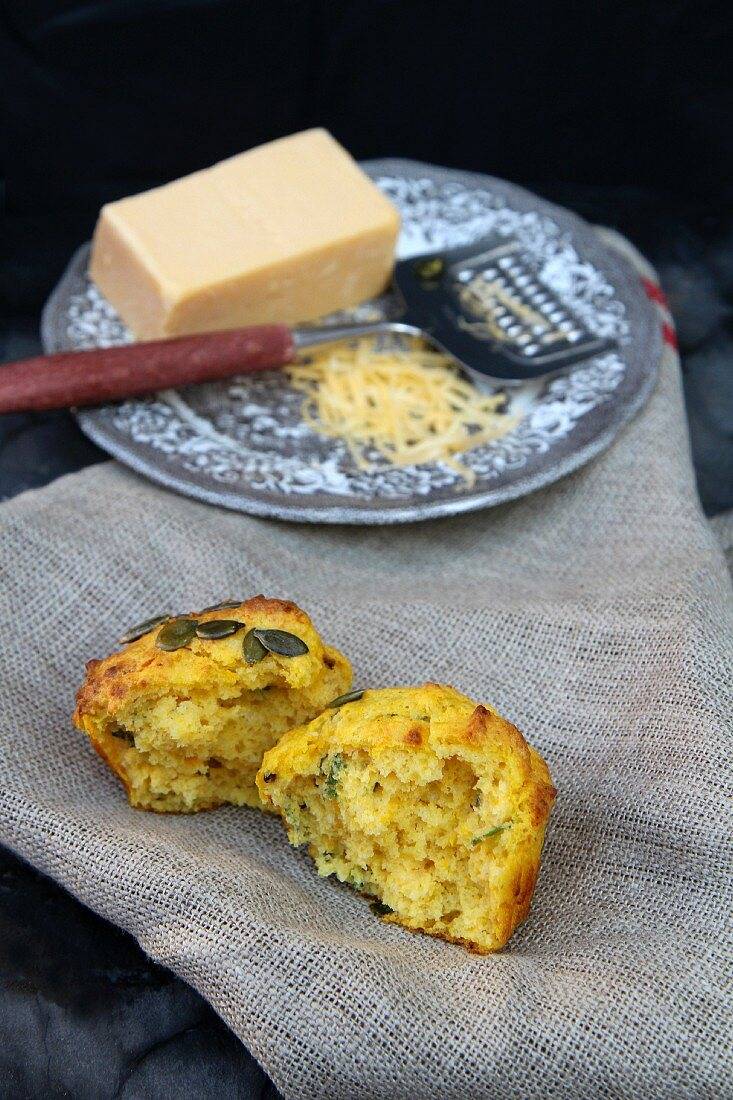 Cheese and herb muffins, halved