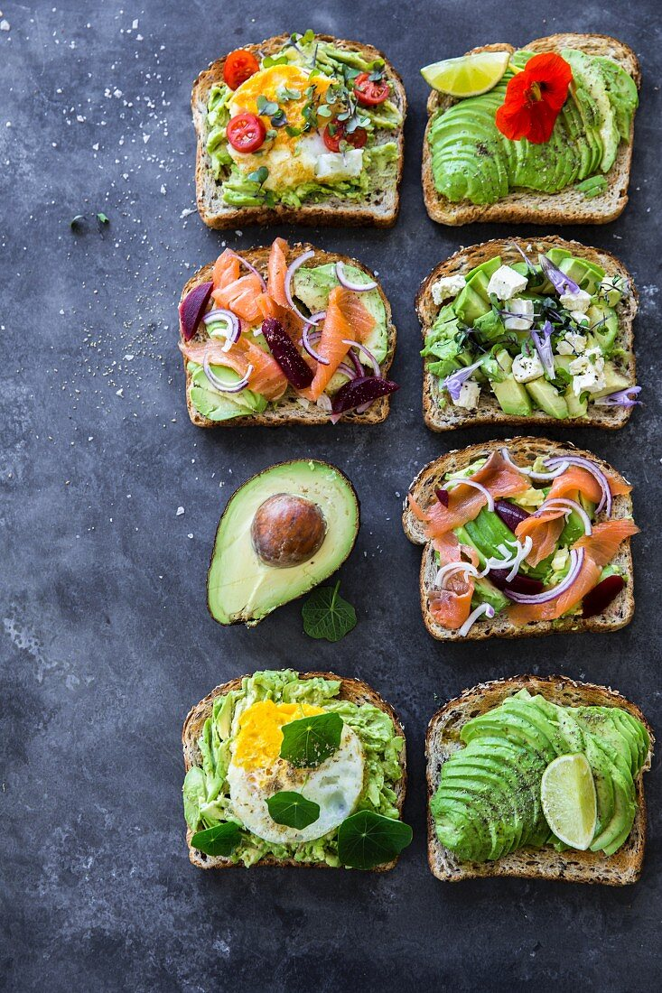 Various avocado toast toppings for breakfast