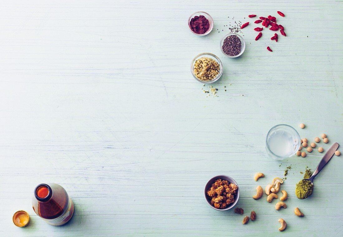 Top ten superfoods (acerola, aronia, chia, goji, hemp seeds, coconut water, maca, matcha, mulberries and nuts)