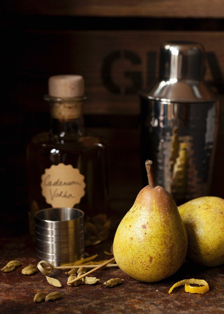 Ingredients for a Cardamom Pear Martini Drink