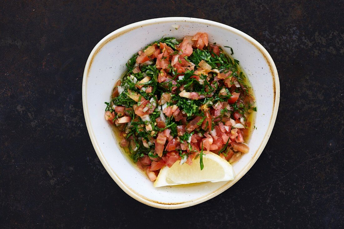 Tabouleh (bulgur salad with tomatoes, parsley and mint, Lebanon)