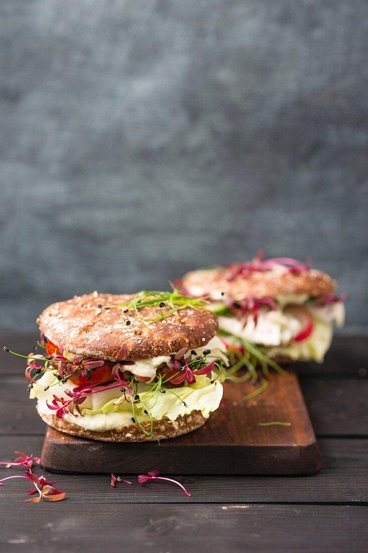 Veggie Burger with salad, radish, tomato, rock chive