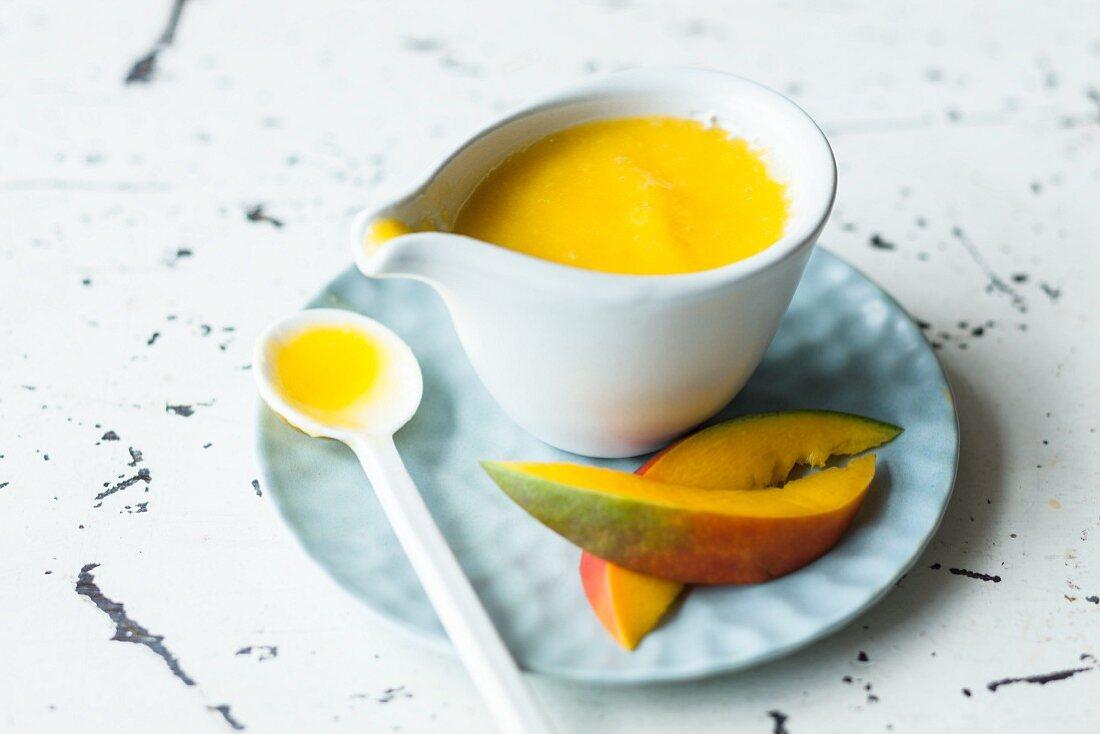 Sweet mango sauce with orange juice and honey
