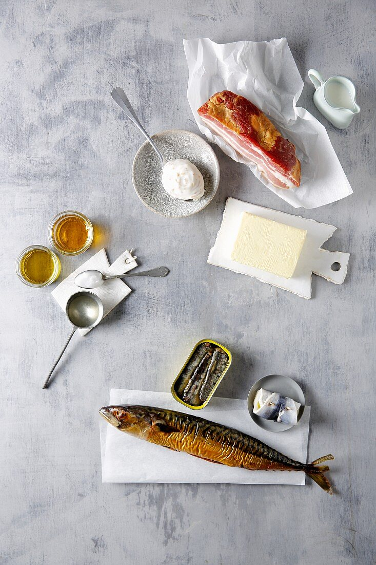 Bacon, smoked mackerel, tinned fish, vegetable oils and butter