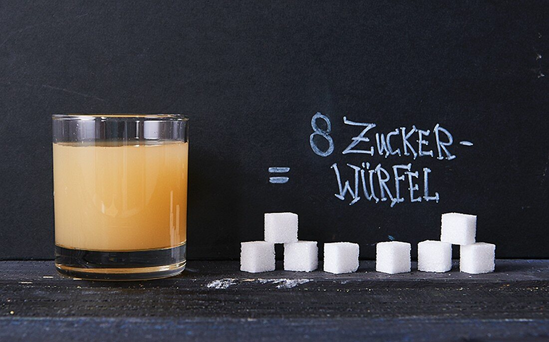 200 ml of apple juice contains eight cubes of sugar