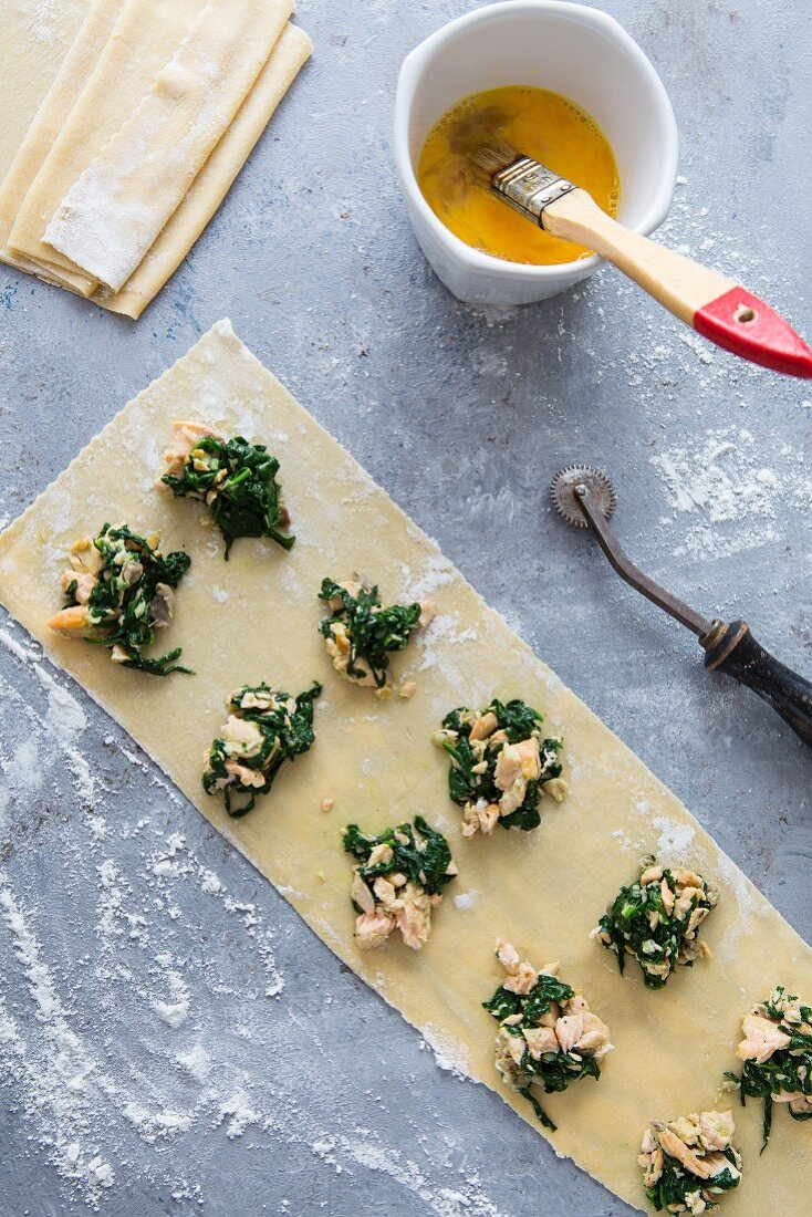Homemade salmon and spinach ravioli
