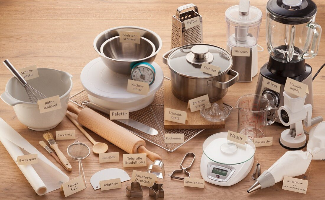 Various kitchen appliances and utensils