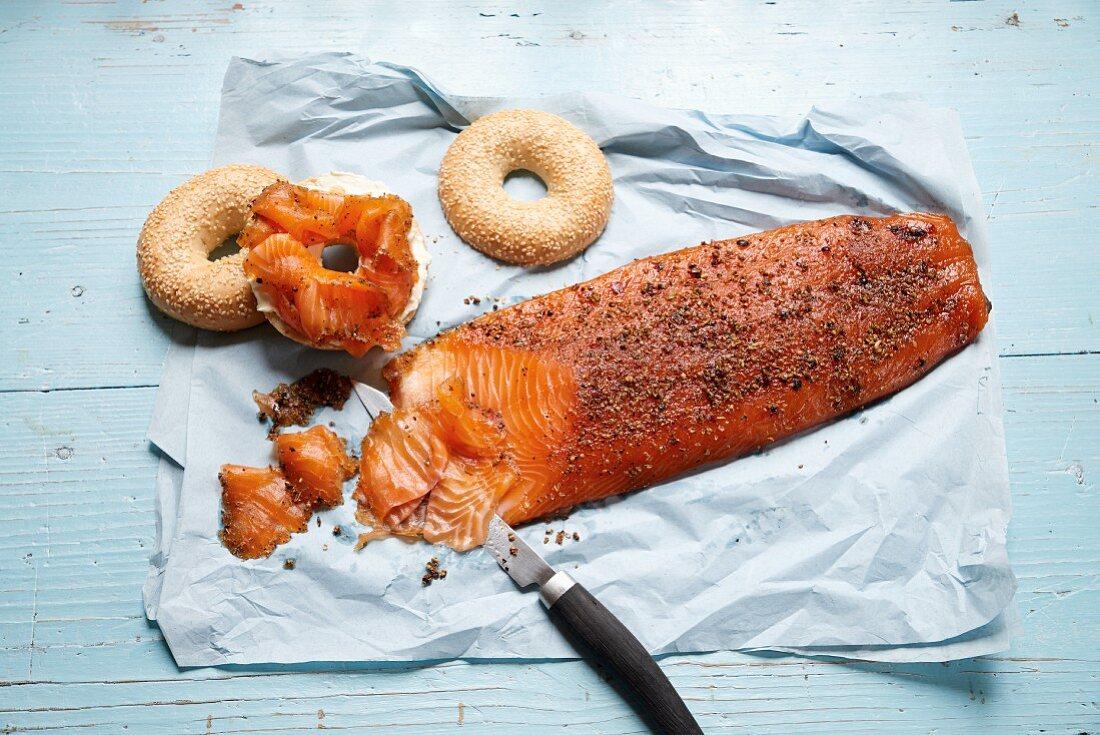 Pastrami salmon and bagels