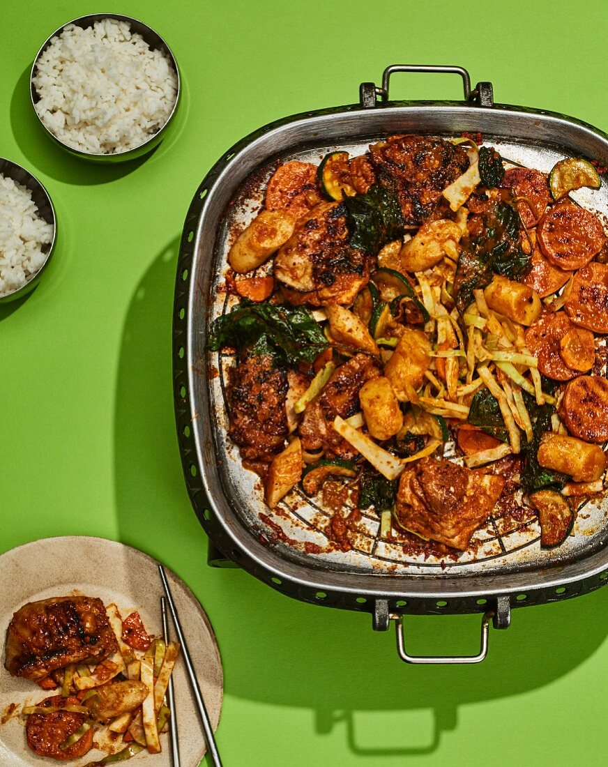 Dak galbi - spicy chicken with rice cakes and sweet potatoes from Korea