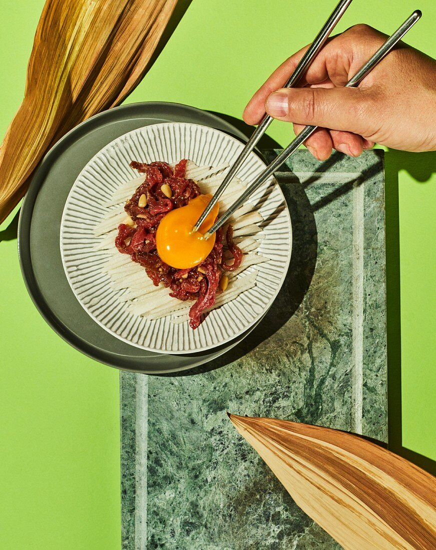 Yukhoe - Korean beef tartare with Nashi pear and egg