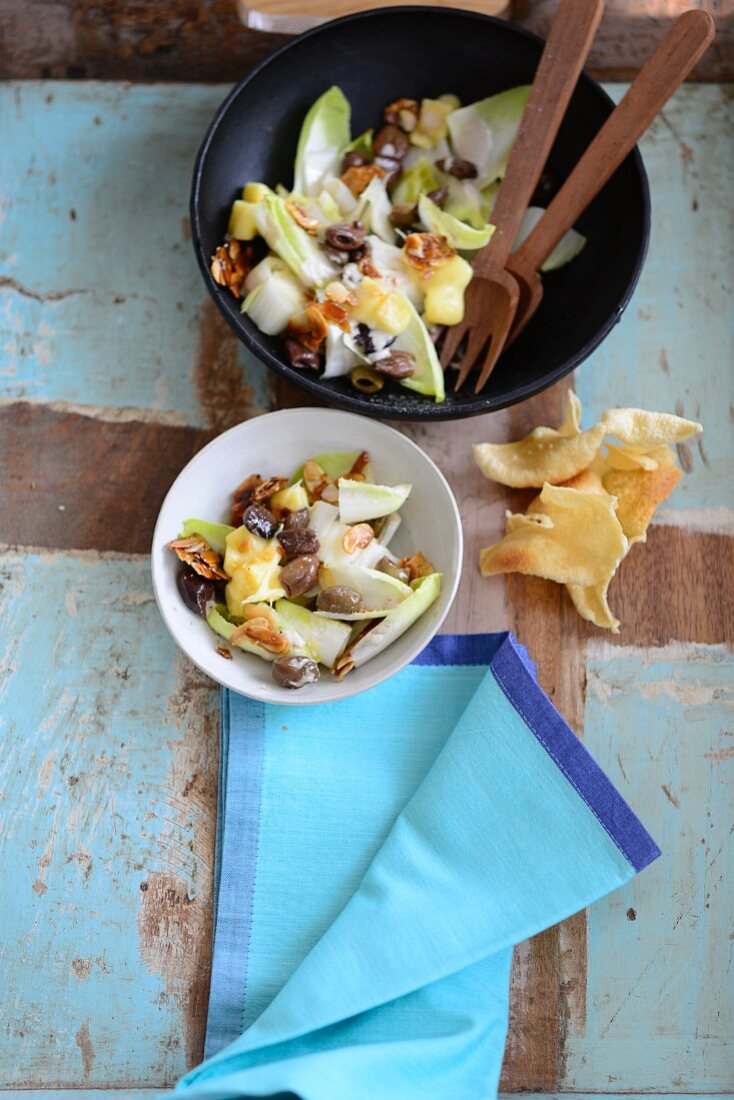 Chicory salad with olives and caramelised almonds
