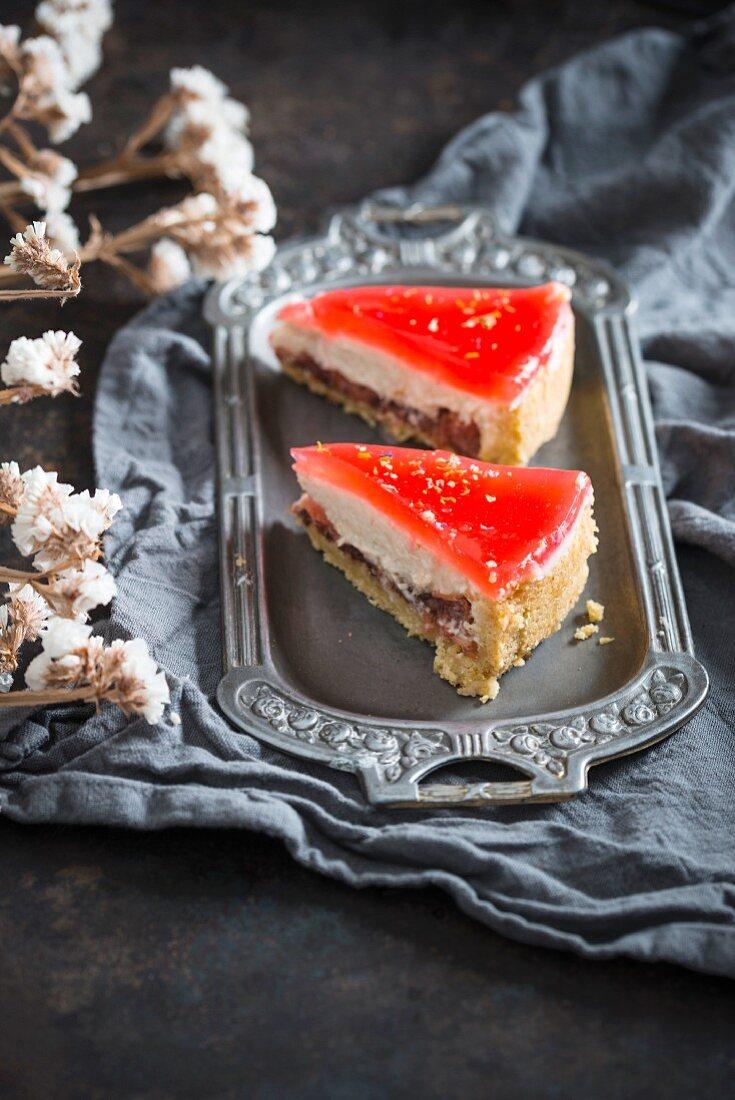 Two pieces of red grapefruit torte (vegan)