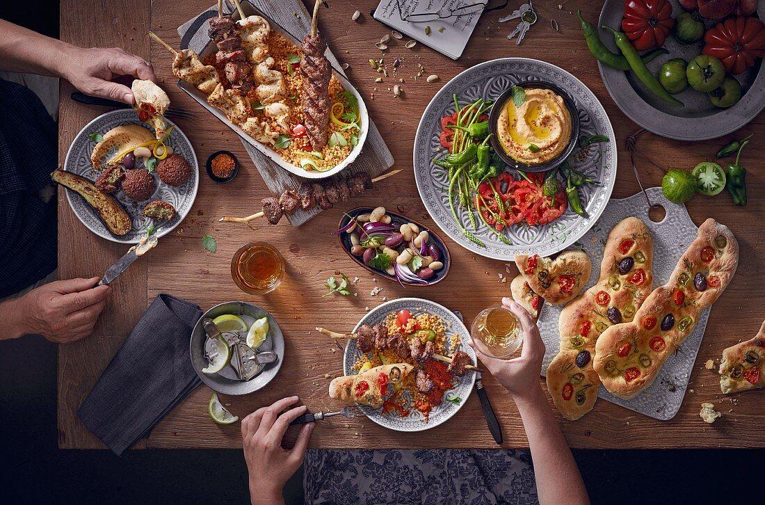 Various Mediterranean dishes