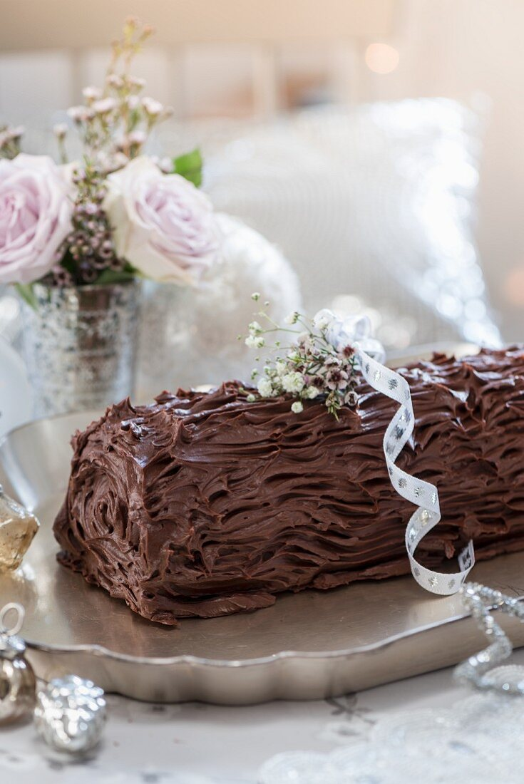 A yule log with ganache and brandy butter