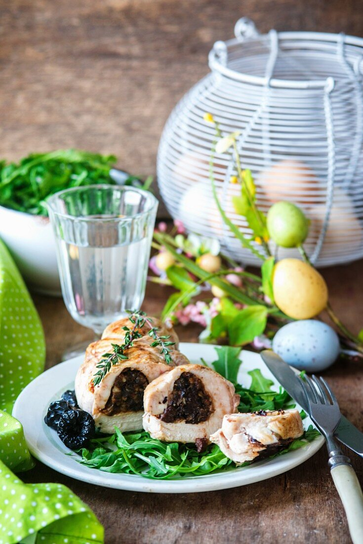 A chicken breast stuffed with plums for Easter