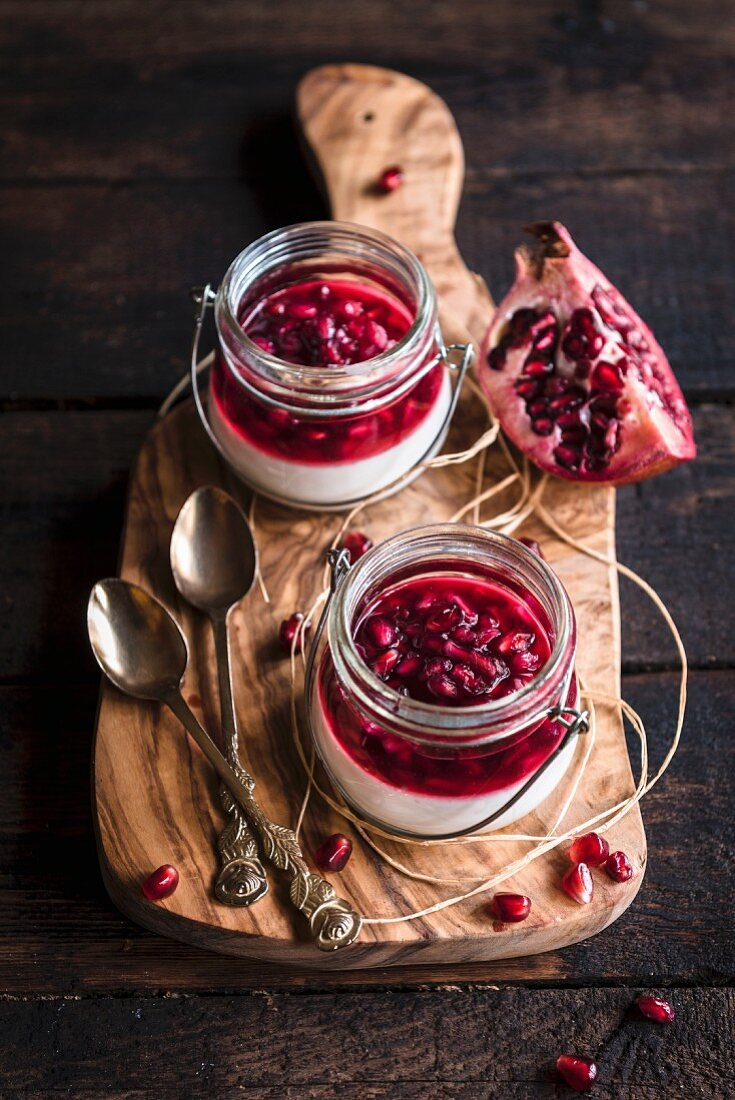 Served sweet panna cotta on wooden background