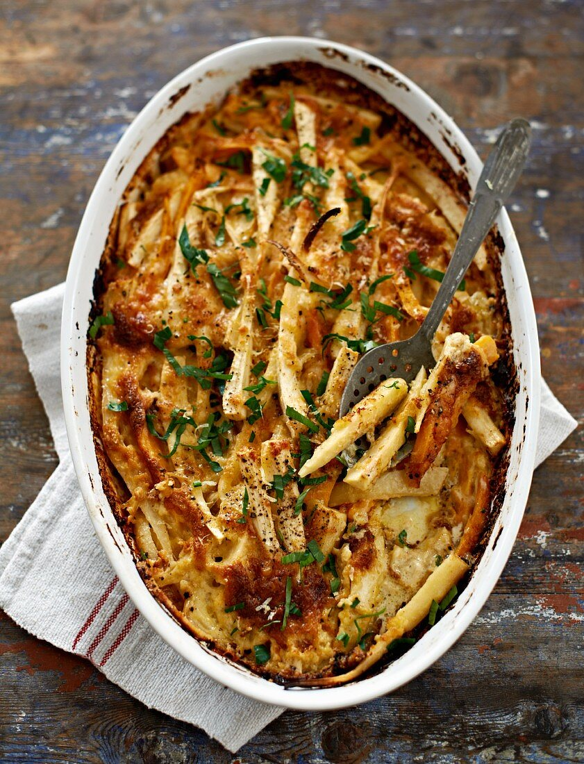 A parsnip bake with fresh herbs