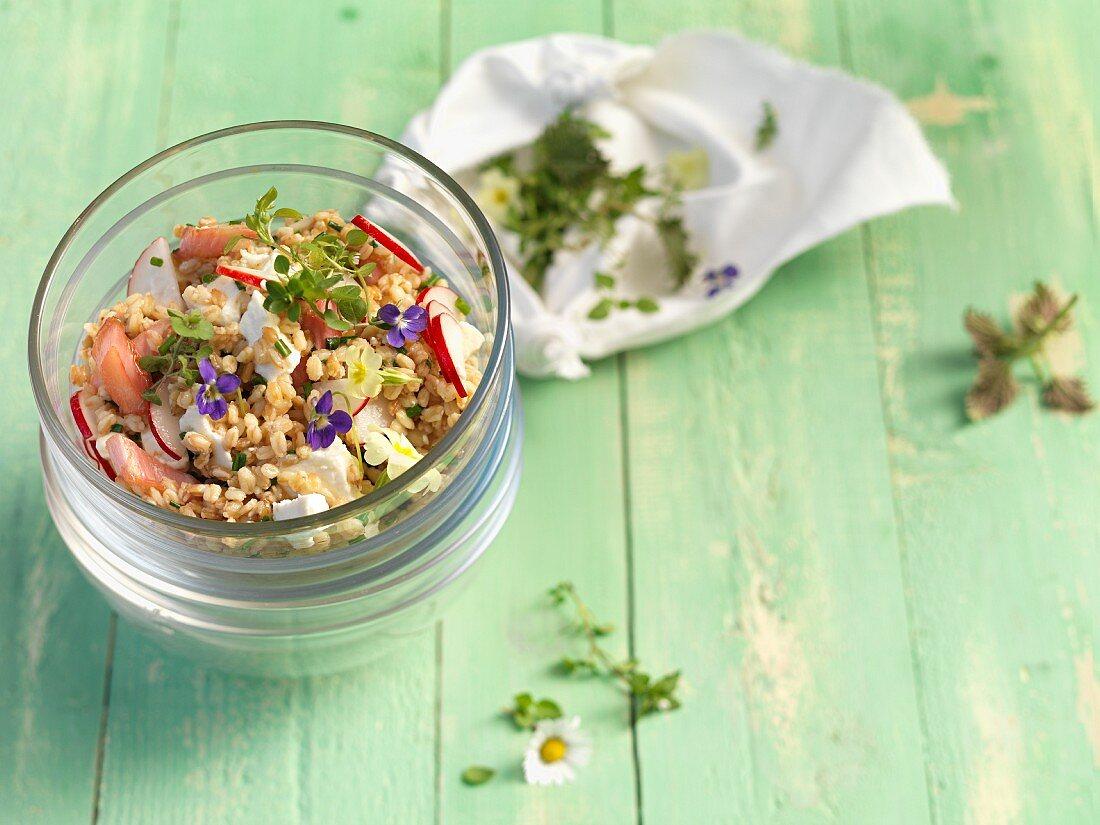 An einkorn salad with feta