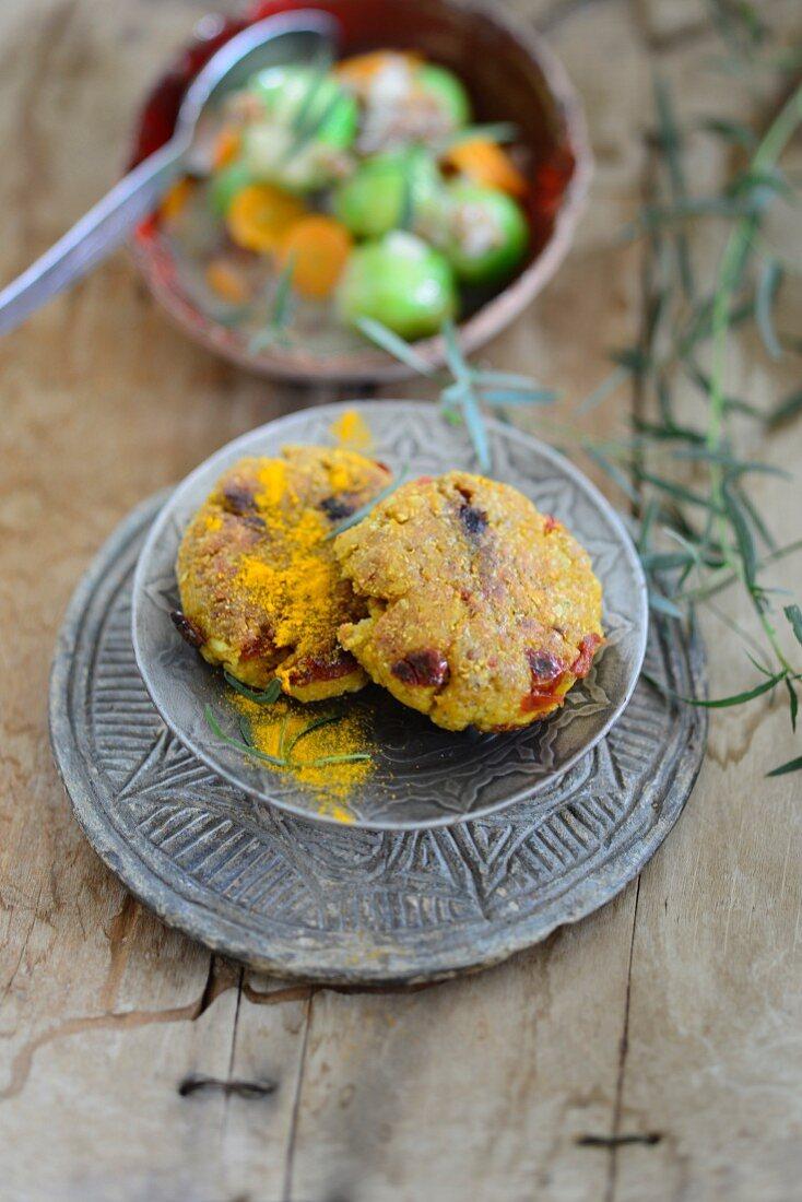 Buckwheat patties with curry powder