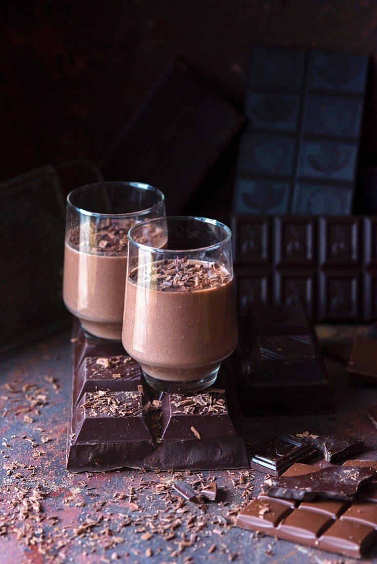 Chocolate panna cotta in dessert glasses