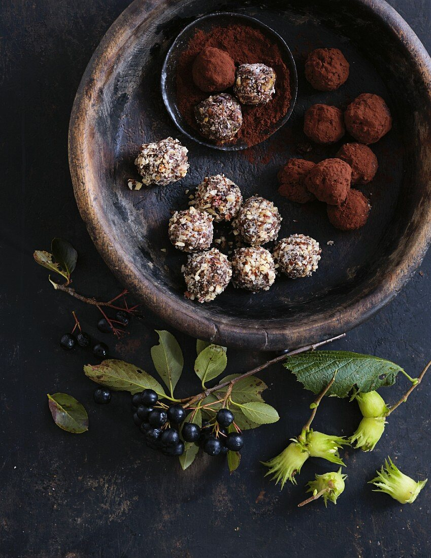 Aronia berry energy balls with cocoa powder and shredded coconut