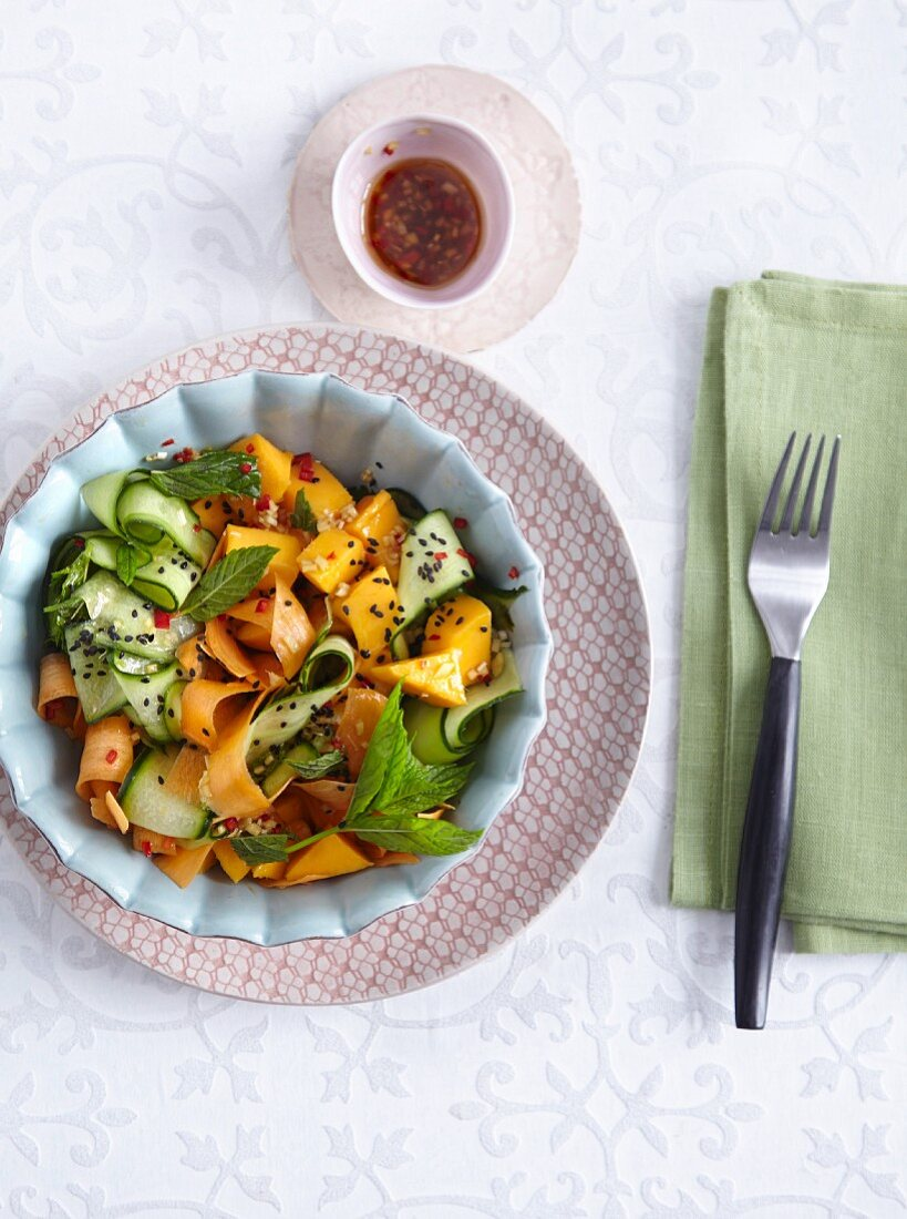 A mango and cucumber salad with mint and black sesame - 'One Night in Bangkok'