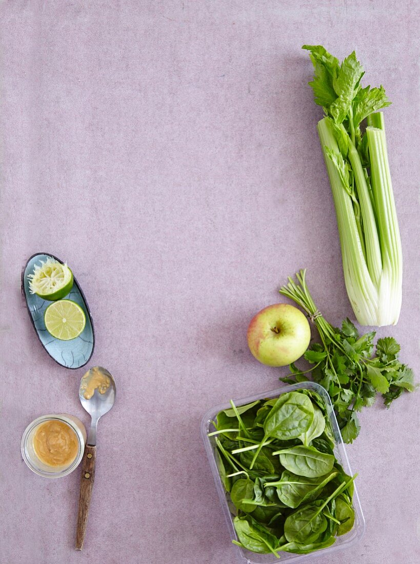 Peanut sauce, lime, celery, coriander, apple, and baby spinach