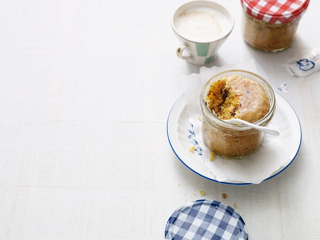Carrot and nut cake baked in a glass