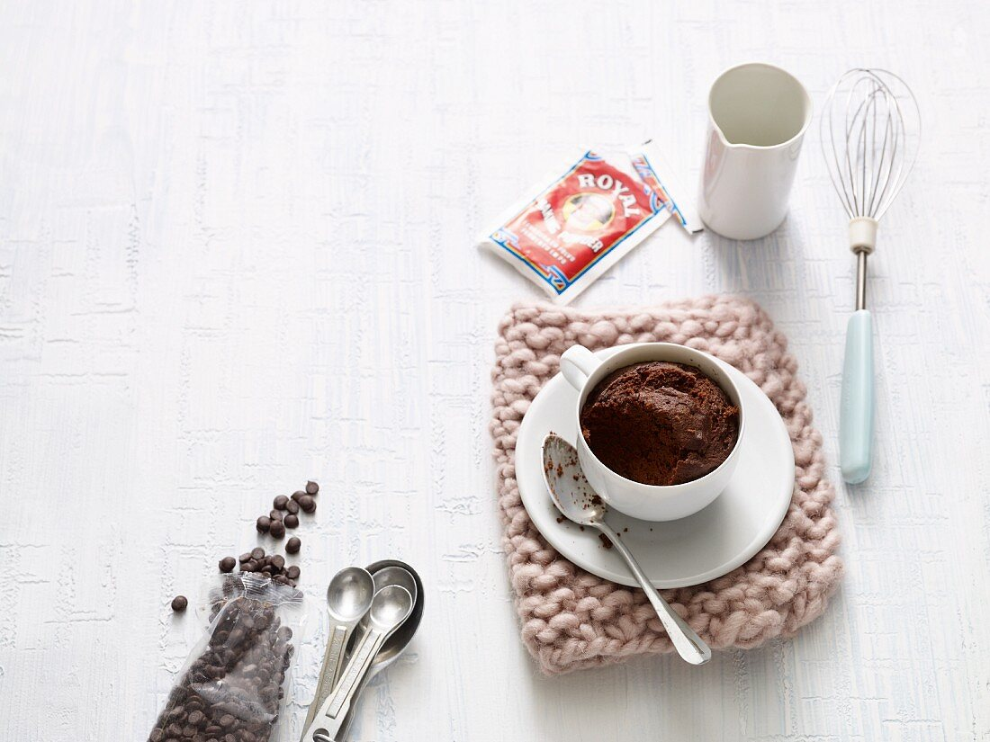 Double chocolate mug cake