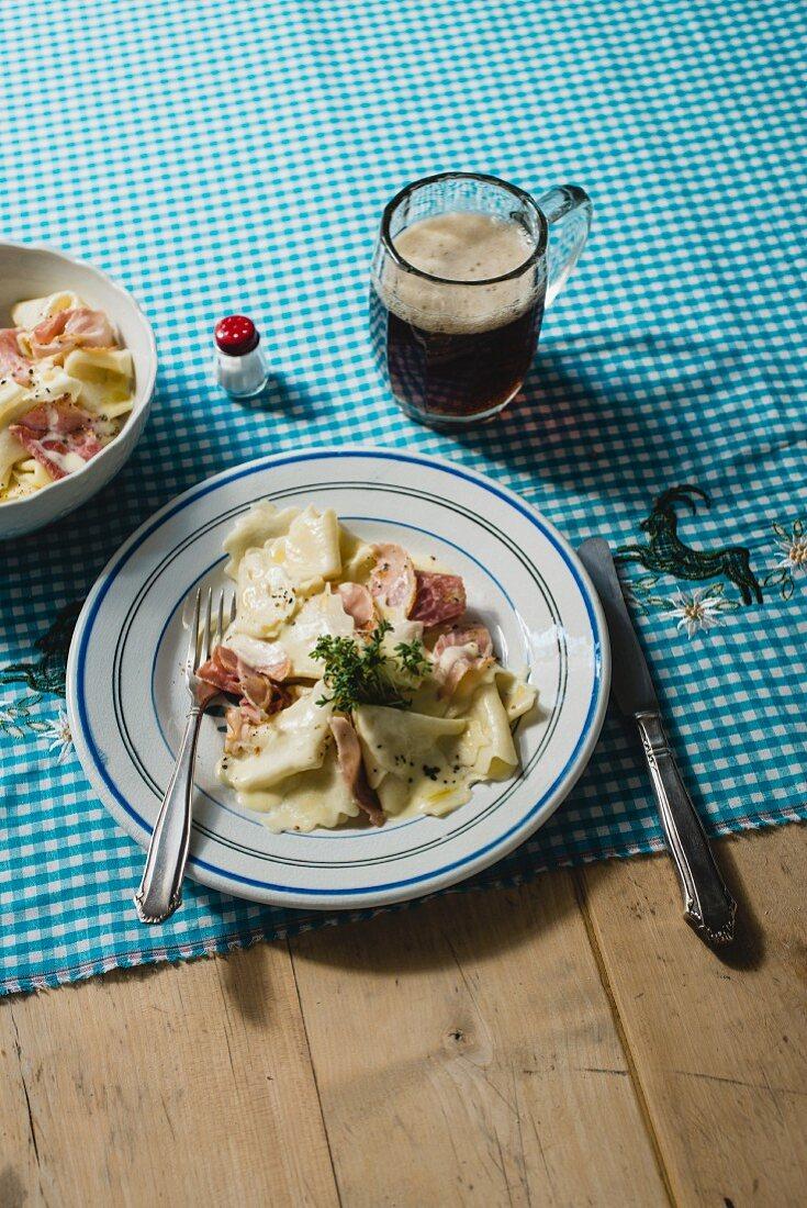 Schinkenfleckerl (ham and pasta, Austria)