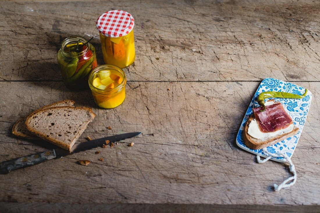 Bread and pickled vegetables for snacking