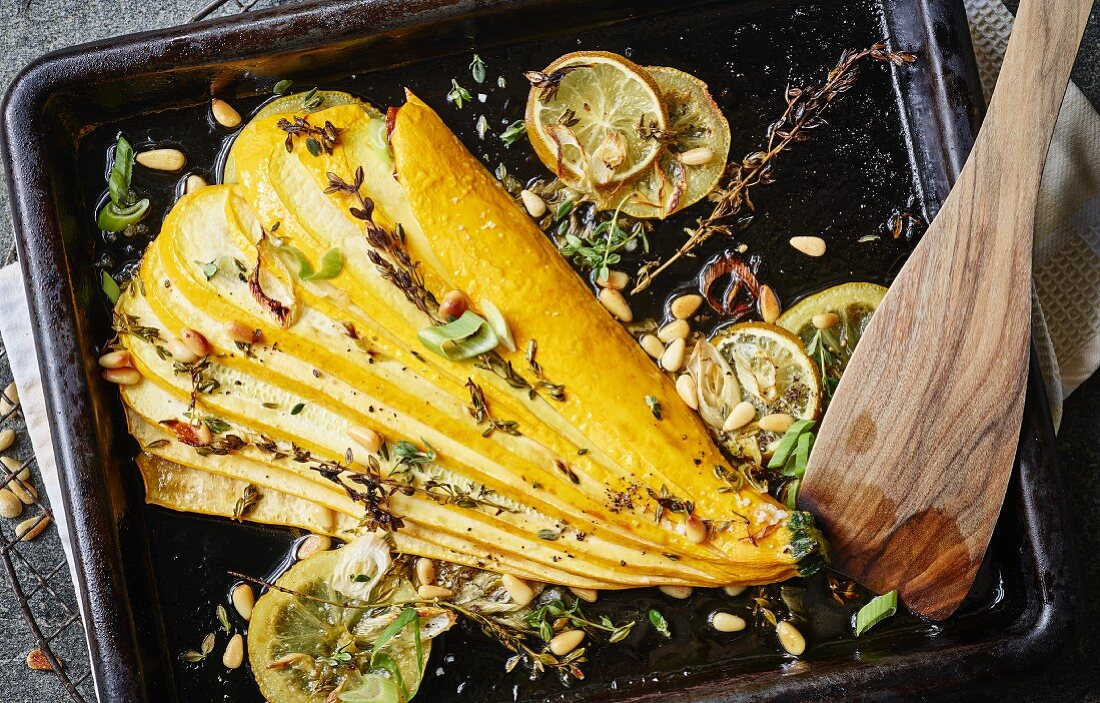Oven roasted yellow zucchini with herbs