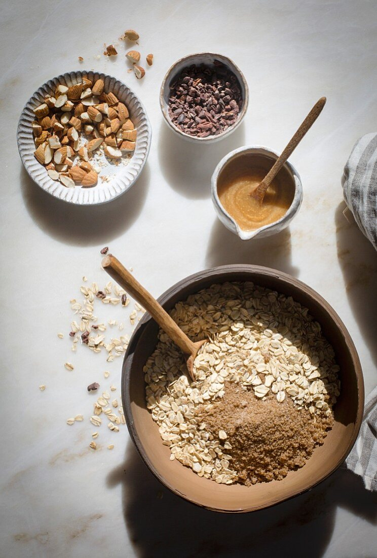 Preparation of granola mixture in a mable backdrop