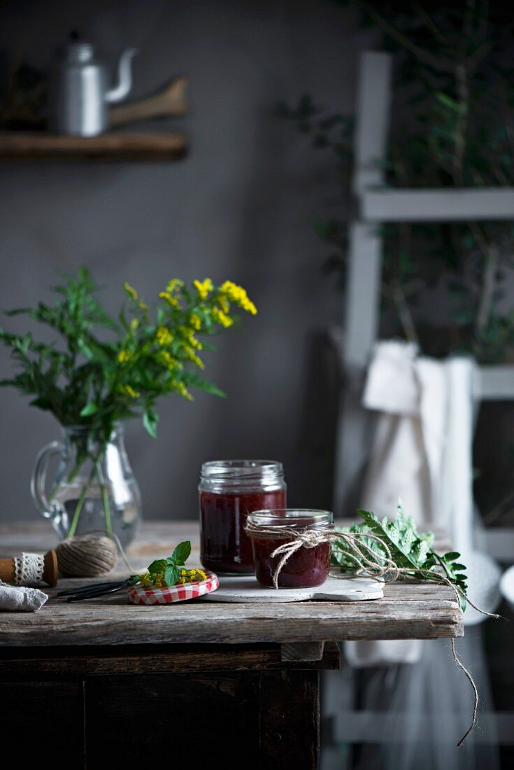 Home made jam in a country kitchen