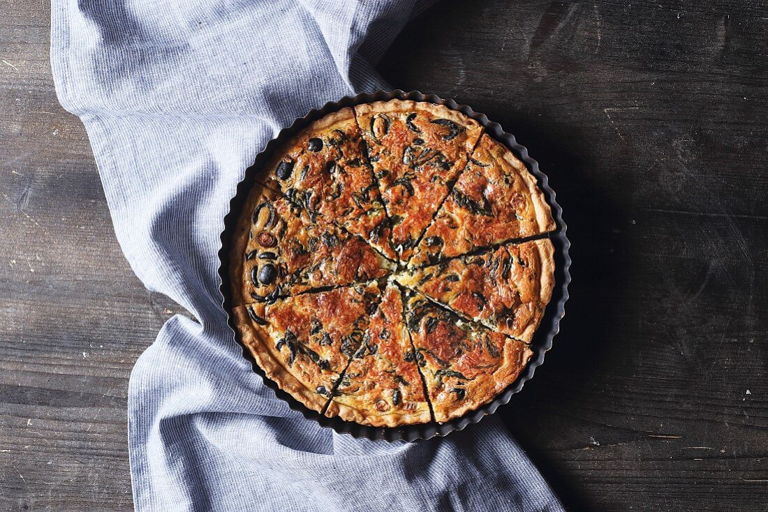 Spinach quiche in an oven dish