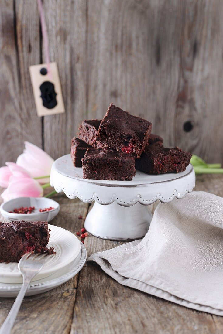 Gluten free brownies with raspberries and red pepper