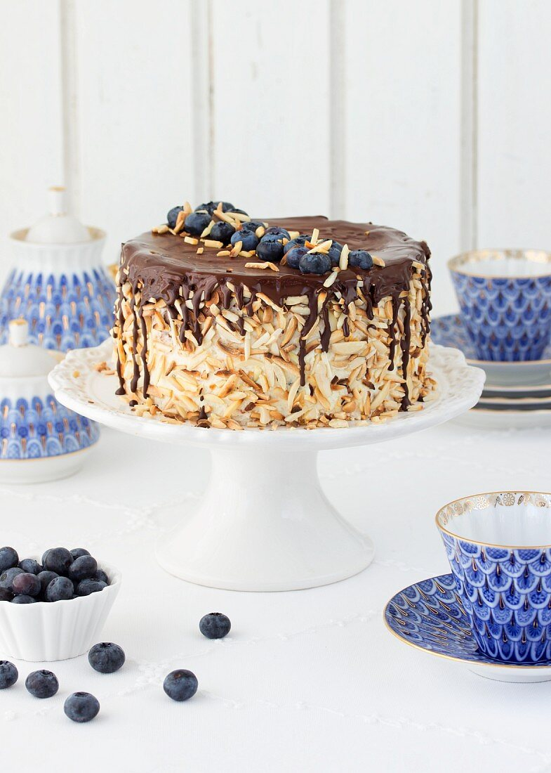 Egg liqueur chocolate cake with blueberries
