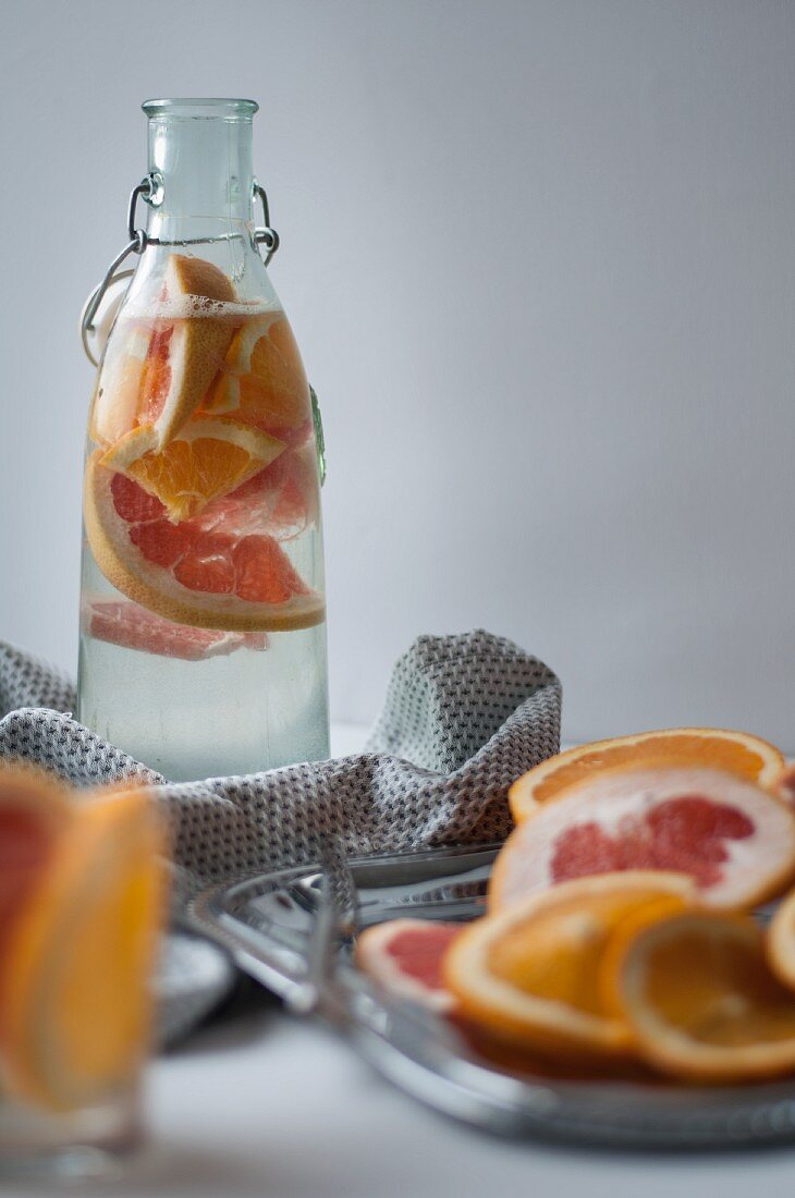 Citrus water with grapefruit and oranges