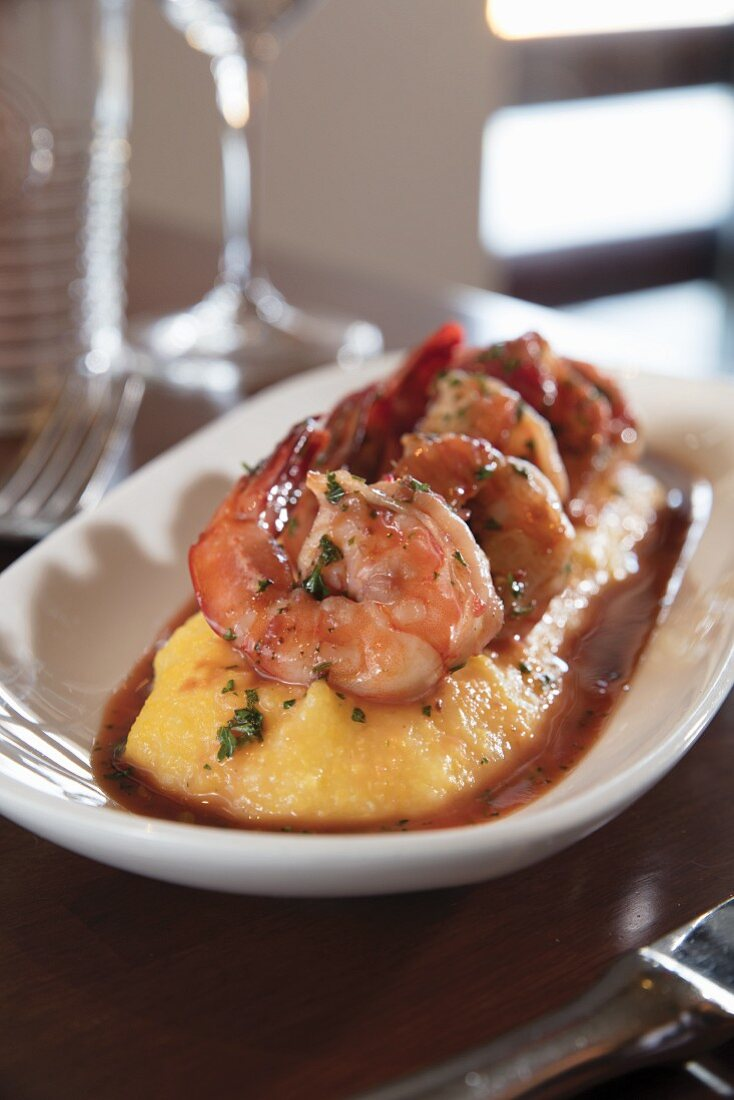 Prawns on a bed of polenta