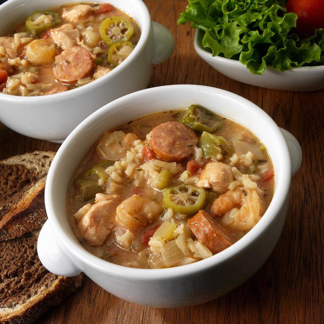 Gumbo with shrimp, andouille sausage, chicken, rice, okra, onion, USA