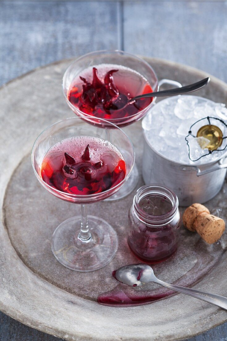 Hibiscus and champagne cocktails