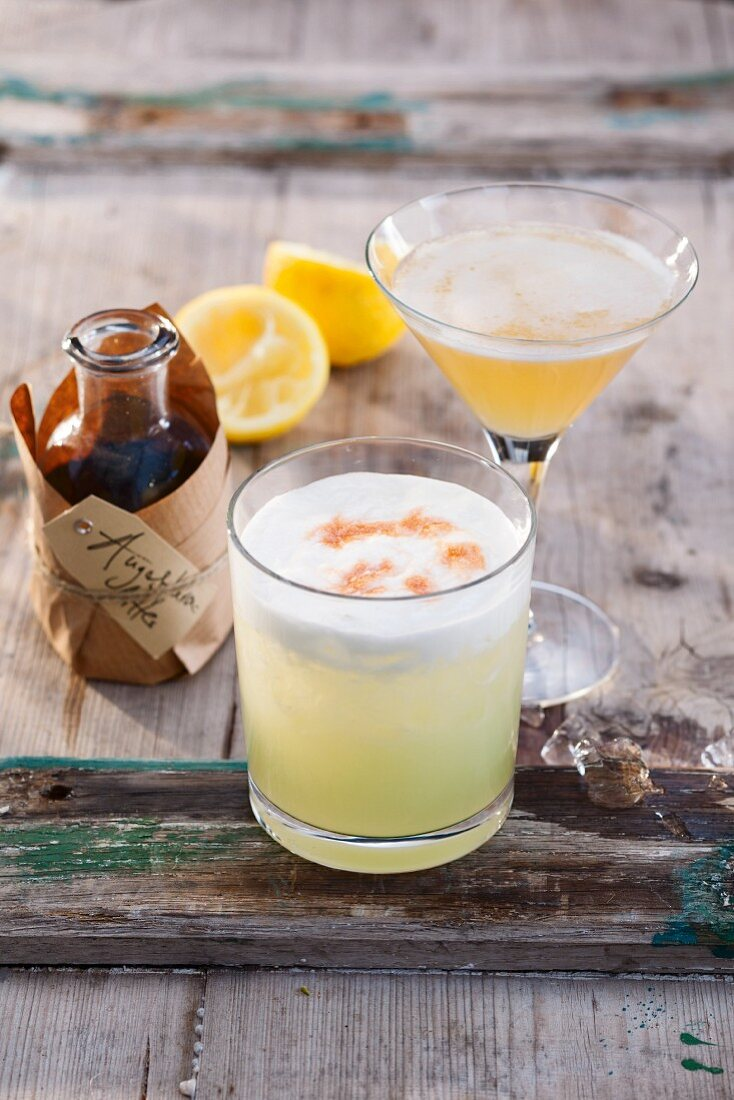 Pisco Sour and Sidecar cocktails