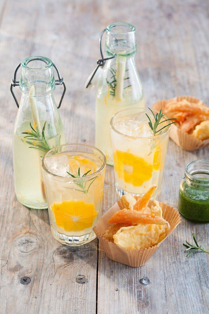 Lemon and rosemary lemonade with lemongrass served with vegetable tempura with mint sauce