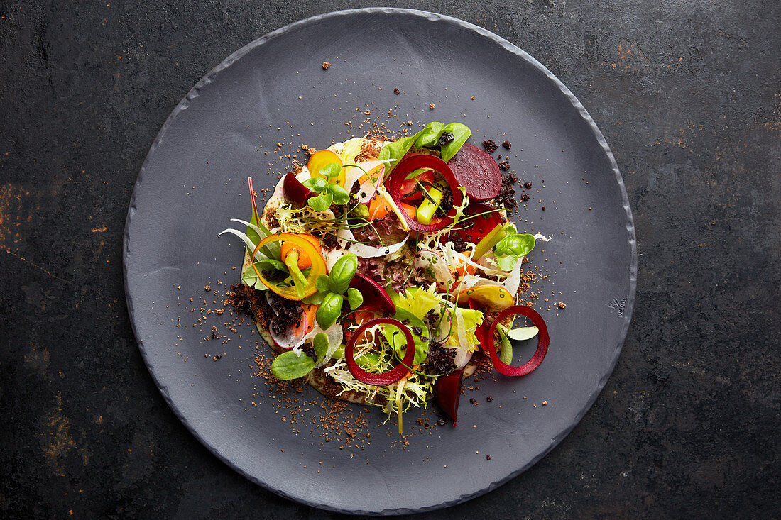Beetroot salad with carrots and basil