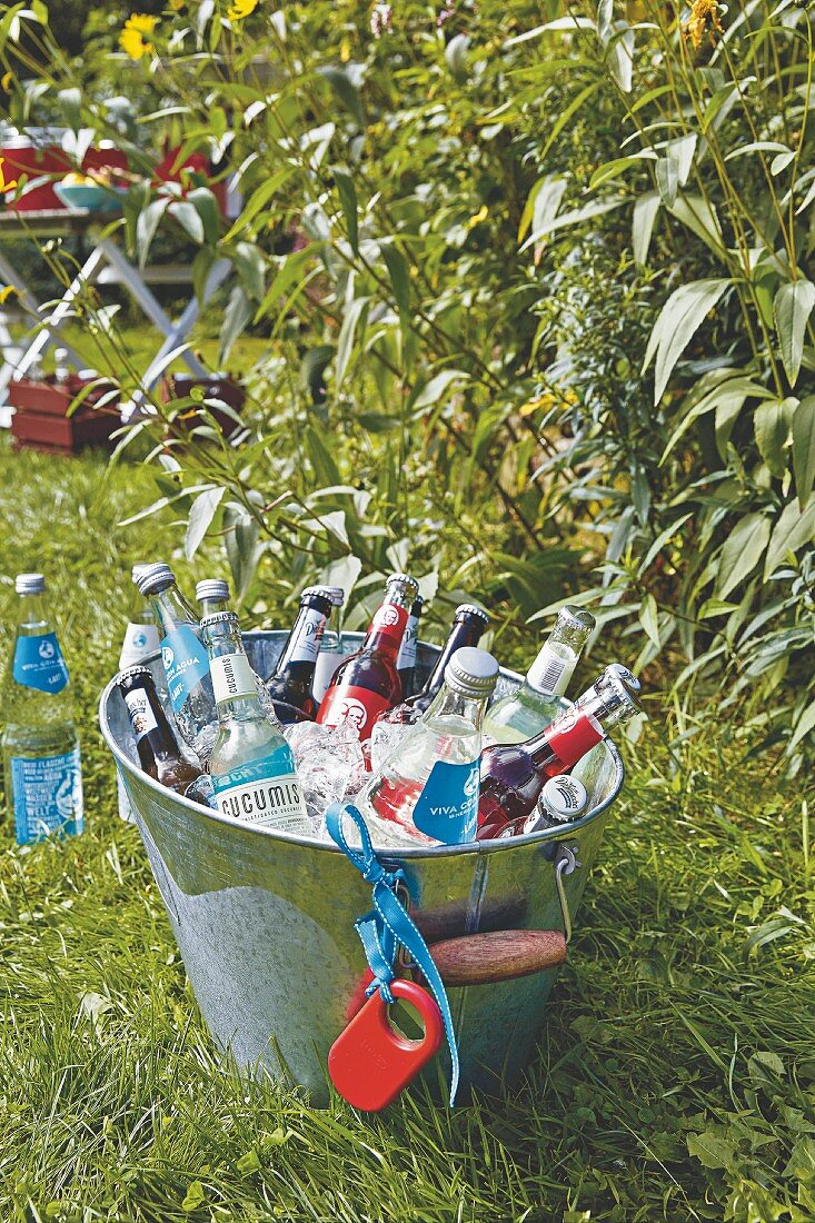Drinks with ice cubes in a zinc tub in the garden