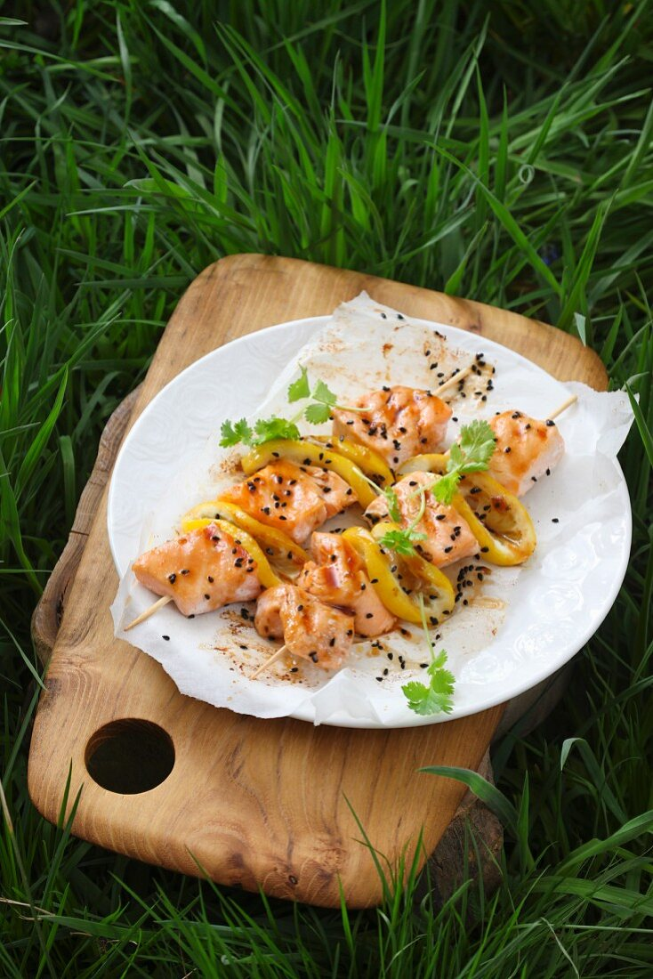 Salmon skewers on a plate outdoors
