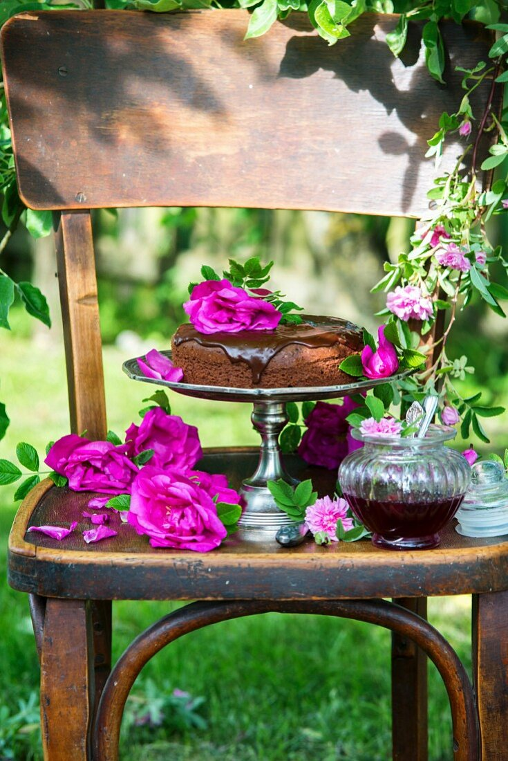 Chocolate cake with homemade rose jam
