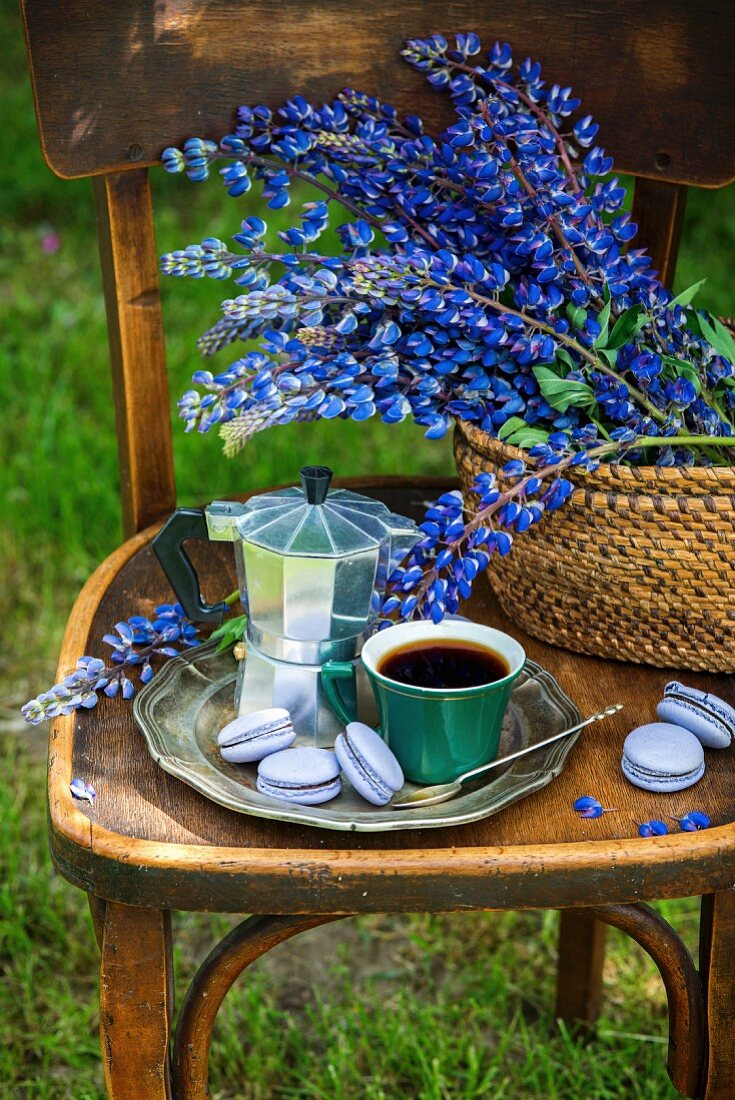 A cup of coffee, an espresso pot, and macarons on a silver tray, with lupines in a basket (outdoor garden)