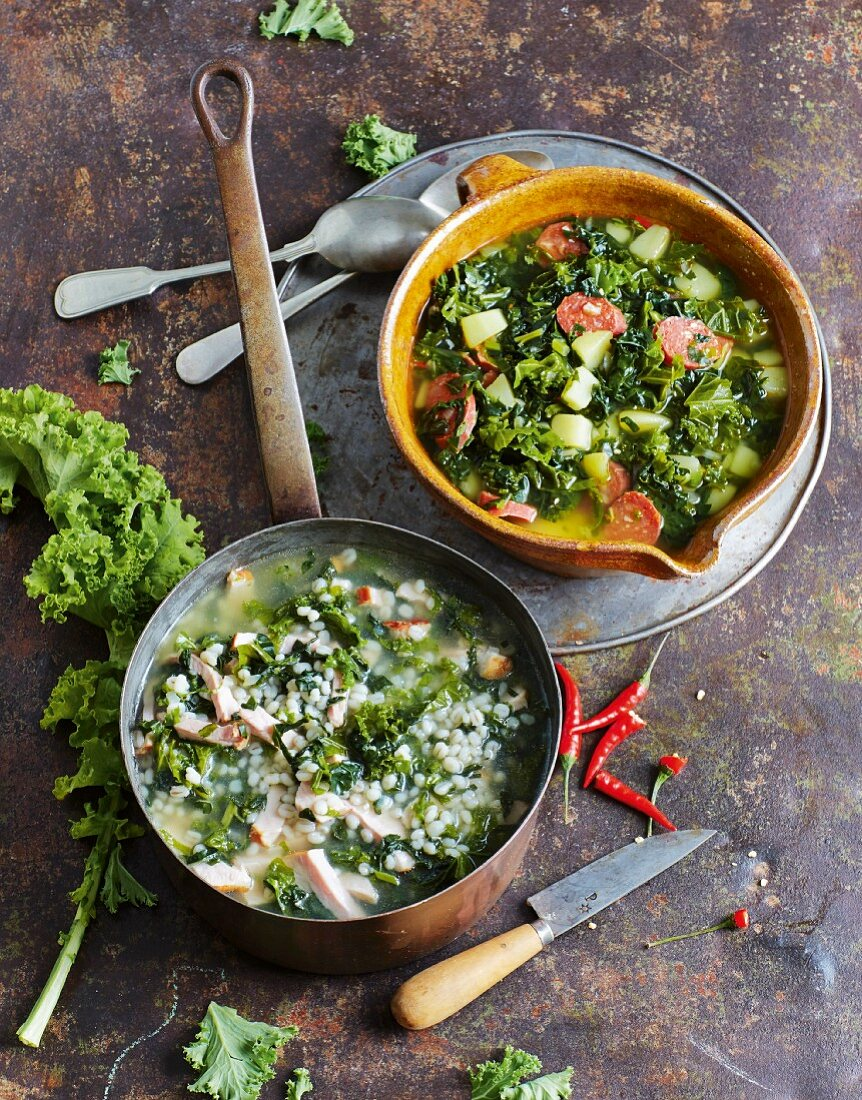 Kale soup two ways: with peal barley and cured pork and with potato and chorizo