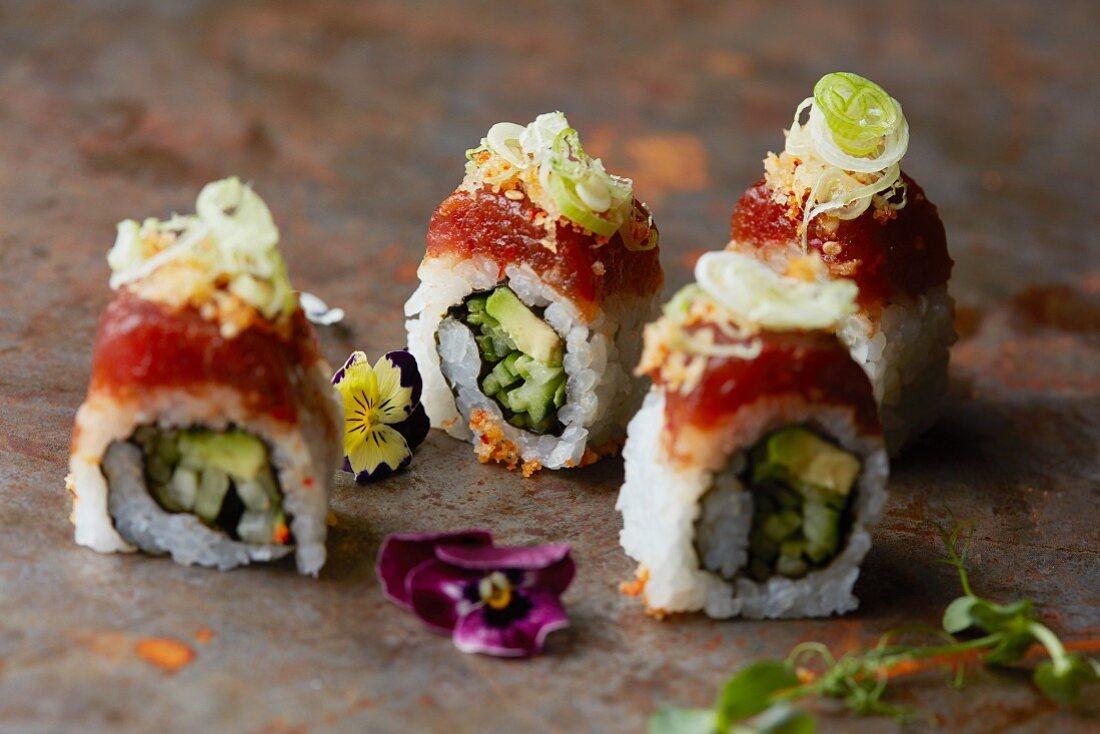 Uramaki rolls with avocado (Japan)